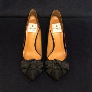 🖤LANVIN en Bleu Black Black Fabric Heels